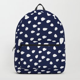 Navy Blue and White Seamless Pattern Paint Brush Strokes Backpack