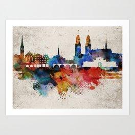 Zurich Abstract Skyline Art Print