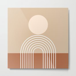 Geometric Lines in Terracotta and Beige 47 (Sun and Rainbow abstraction) Metal Print