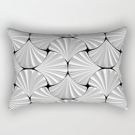 3-D Art Deco Silver Shells Pattern Rectangular Pillow
