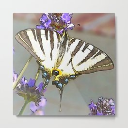 Scarce Swallowtail On Lilac Flowers Black Outline Art Metal Print