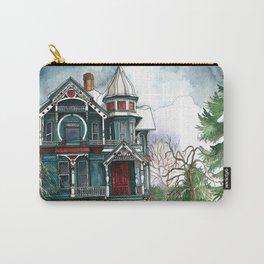 Blue House on a Grey Day Carry-All Pouch