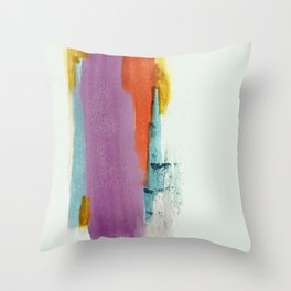Aly: a colorful, minimal, abstract piece in bold purple, blue, orange, and yellow Throw Pillow