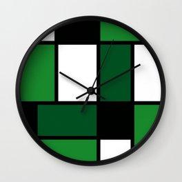 Green Mondrian Wall Clock