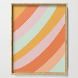 Summer Sorbet Pastel Curved Stripes Serving Tray