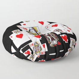 RED CASINO COURT PLAYING CARDS IN BLACK Floor Pillow