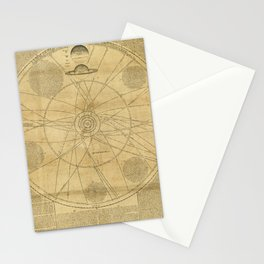 Solar System Chart with the Orbits of Planets and Comets (1720) Stationery Cards