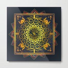 Golden Filigree Mandala Metal Print