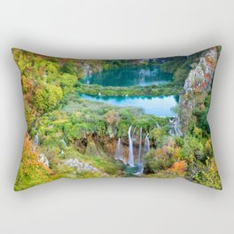 Autumn Landscape With Waterfall In Plitvice Lakes Rectangular Pillow