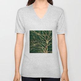 Modern Gold Tree Silhouette Minimal Green Design Unisex V-Neck