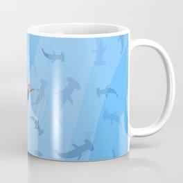 Shark Beach Swimmer | Aerial Illustration Coffee Mug