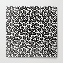 Gray Black White Cheetah Pattern Metal Print