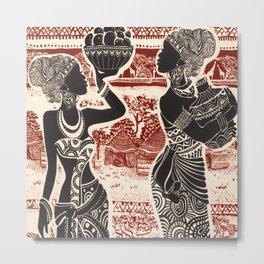Vintage Joy Tribal African Women Village Metal Print