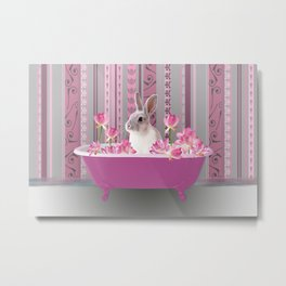 Bunny sitting in bathtub with lotus flowers #society6 Metal Print