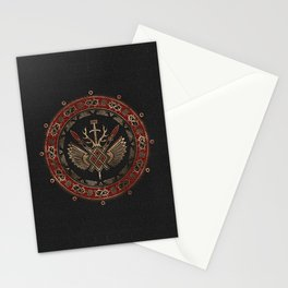 Gungnir - Spear of Odin Black and Red Leather and gold Stationery Cards