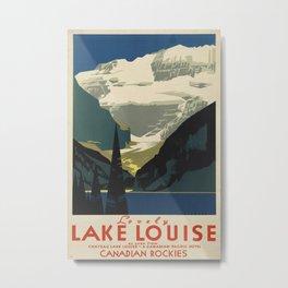 Lovely Lake Louise Vintage Travel Poster Metal Print