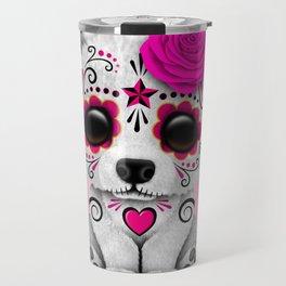 Pink Day of the Dead Sugar Skull Polar Bear Travel Mug