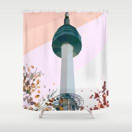 Geometric N Seoul Tower, South Korea Shower Curtain
