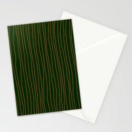 Hand Drawn Lines Vertical Orange Dark Green Stationery Cards