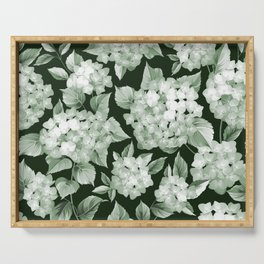 Green Hydrangea Larger Pattern Serving Tray