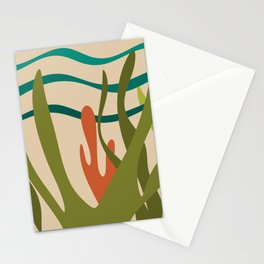 Oceanscape - Undersea Ocean Abstract in Mid Mod Colors Stationery Cards