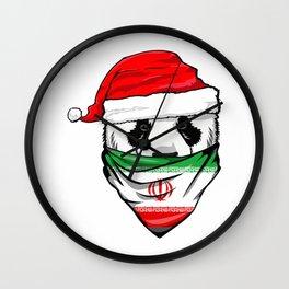 Panda in Santa's Hat and Iran Flag Bandana Christmas Gift T-Shirt Wall Clock