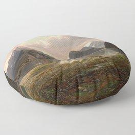 Milford Sound, New Zealand by Eu von Guerard  Romanticism  Landscape Floor Pillow