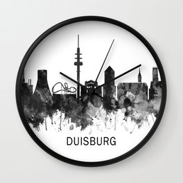 Duisburg Germany Skyline BW Wall Clock