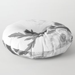 grayscale poenies and roses Floor Pillow
