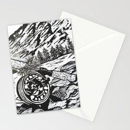 """""""Opening Day"""" Fly Fishing Art, Original Fishing Drawing, Mountain River Stream Stationery Cards"""