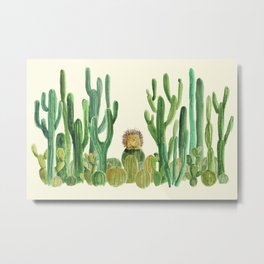In my happy place - hedgehog meditating in cactus jungle Metal Print
