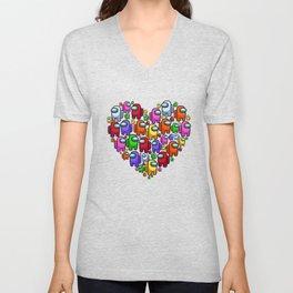 Among us Heart Love Among us Unisex V-Neck