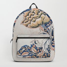 Design for Windrush by William Morris 1883 // Romanticism Blue Red Yellow Color Filled Floral Design Backpack