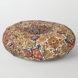 Persia Tabriz 19th Century Authentic Colorful Blue Red Yellow Vintage Patterns Floor Pillow