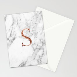 Monogram rose gold marble S Stationery Cards