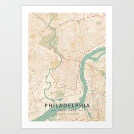 Philadelphia, United States - Vintage Map Art Print