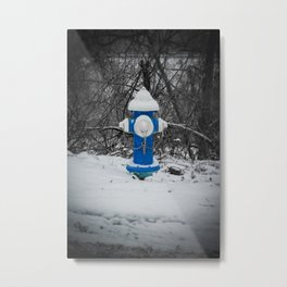 Snowy Blue and White Fire Hydrant West Virginia Fire Plug Metal Print