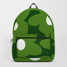Spring Green Retro Flowers Dark Green Background #decor #society6 #buyart Backpack