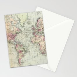 Vintage Map of The World (1874) Stationery Cards