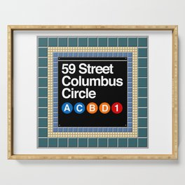subway columbus circle sign Serving Tray
