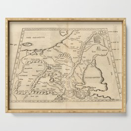 Vintage Map Print - 1525 Map of Eastern Europe Serving Tray