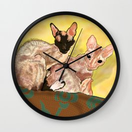 Tiger and George - the Cornish Rex Cats Wall Clock