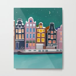 Amsterdam city night Metal Print