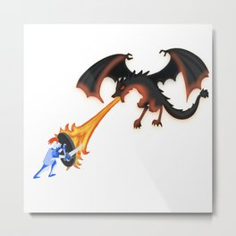 dragon and knight the warrior battling with fire and shield Metal Print