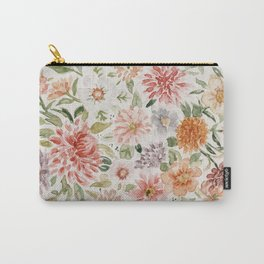 Loose Pastel Dahlia Watercolor Bouquet Carry-All Pouch