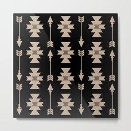 Southwestern Arrow Pattern 233 Black and Beige Metal Print