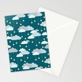 Clouds & Stars Night Sky Pattern Stationery Cards