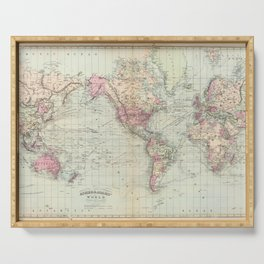 Vintage Map of The World (1874) Serving Tray