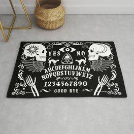 ouija board skulls and skeleton bones and wings Rug