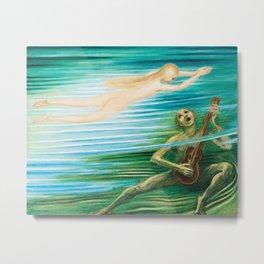 The Mermaid and the Water Spirit ocean landscape painting by Nils Dardel Metal Print